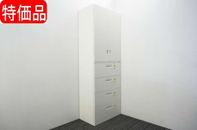 オカムラ SAデュオライン ダイヤル式4段ラテラル(個別ロック)+両開き書庫 W800 D450 H2227 ZA75色 特価品