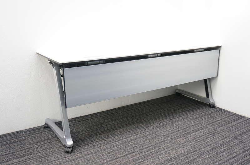 オカムラ インターアクトプロ フラップテーブル 1860 配線孔付き 幕板付き 棚板無し ホワイト