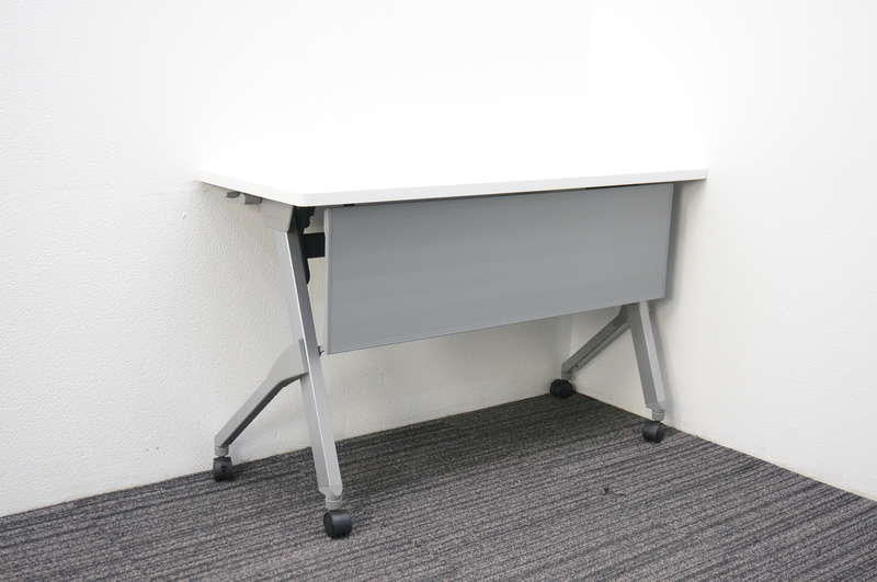 オカムラ フラプター フラップテーブル 1245 幕板付 網棚なし H720 ホワイト
