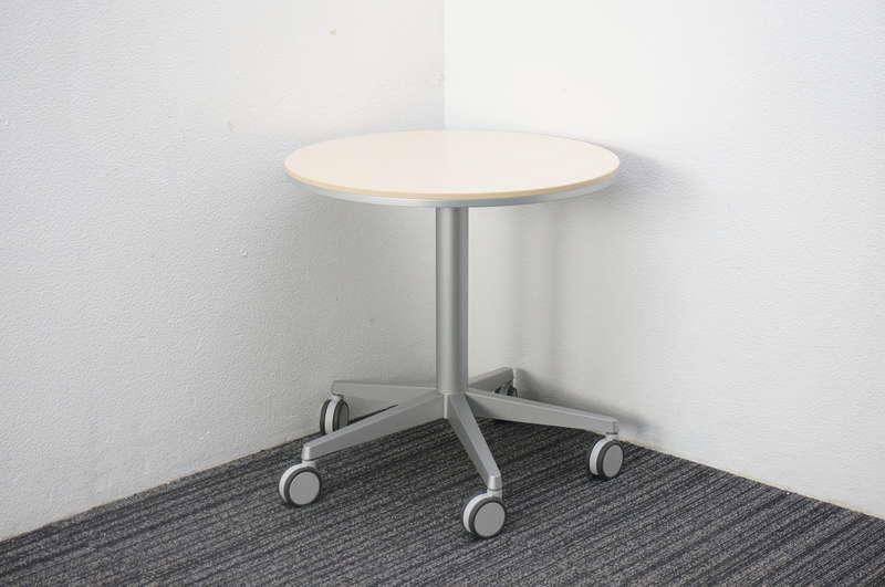 オカムラ アプションフリー 丸テーブル 昇降機能付 キャスタータイプ ライトプレーン Φ600 H605-805