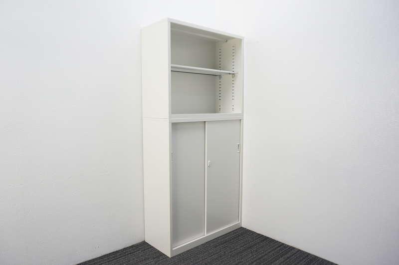 セイコー 引戸+オープン書庫 W880 D380 H1860 ホワイト