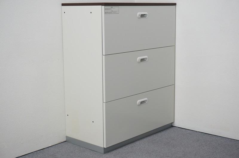プラス LINX LX-5 3段ラテラル書庫 天板付(マホガニー) H1120
