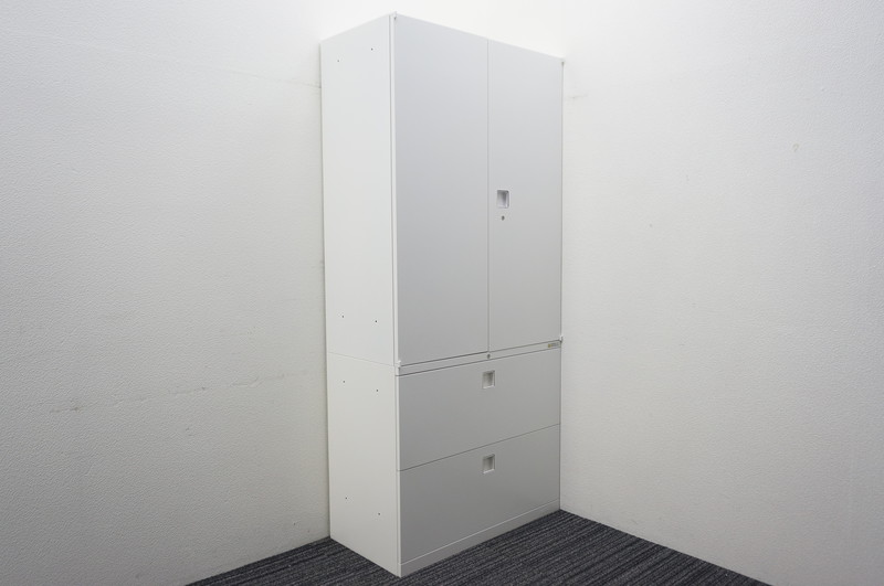 オカムラ レクトライン 2段ラテラル+両開き書庫 H1960 ZA75色