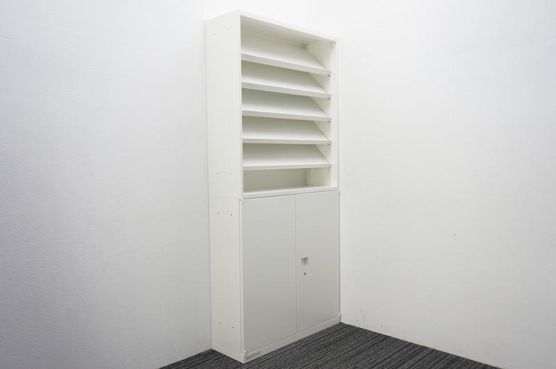 オカムラ レクトライン 両開き書庫+ライブラリーラック(雑誌架) W900 D300 H2000 ZA75色