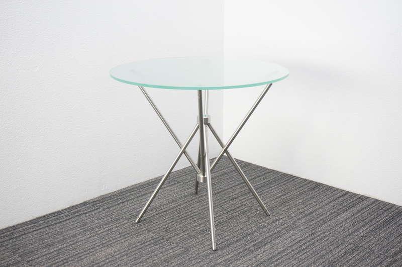 【店頭販売のみ】相合家具 テンセUK ガラス丸テーブル Φ750 H700