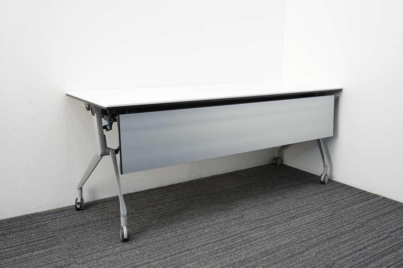 オカムラ インターアクトNT フラップテーブル 1860 幕板付 棚板付 配線ダクト無し ホワイト