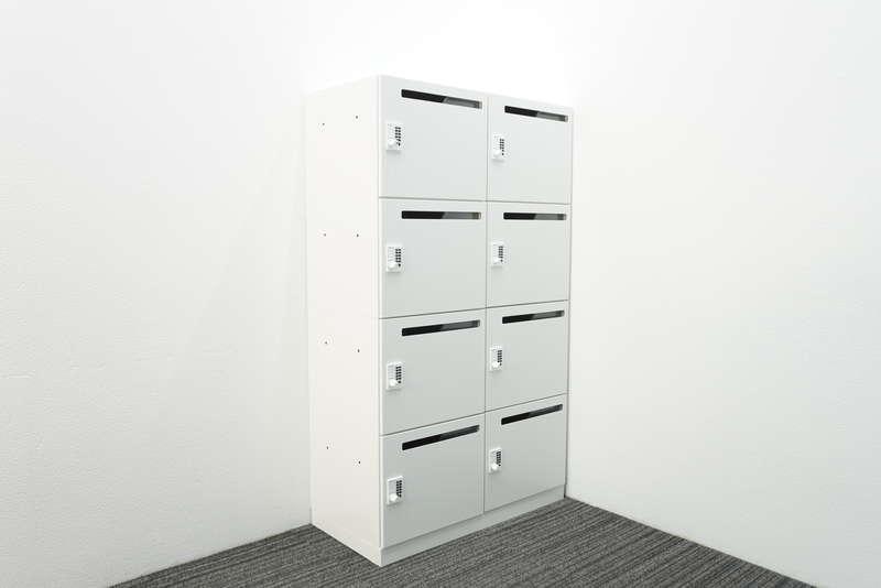 コクヨ イノン プッシュオートロック式8人用パーソナルロッカー メール穴あり コンセント付 H1540 ホワイト
