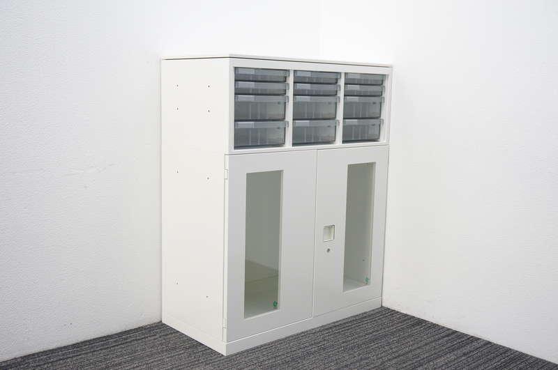 オカムラ レクトライン ガラス両開き書庫+書類整理庫(3列4段/コンビタイプ) 天板付 H1115 ZA75色