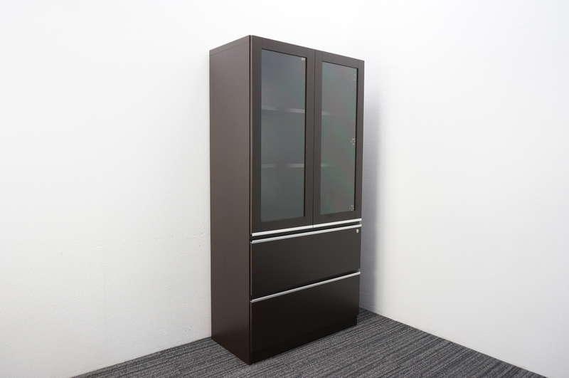 イトーキ X-15 ガラス扉付ラテラルキャビネット W900 D450 H1800 オークダークブラウン