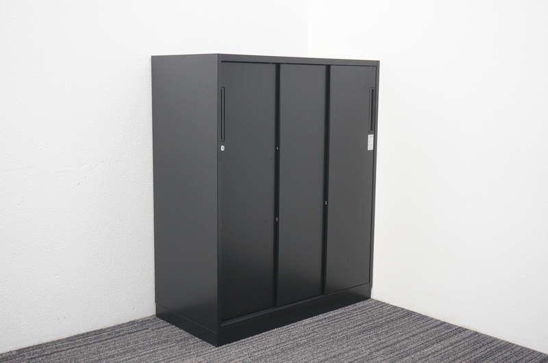 コクヨ エディア ブラックタイプ 3枚引戸書庫 H1110
