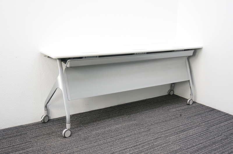 コクヨ エピファイ フラップテーブル 1845 幕板付 配線ダクト付 ホワイト