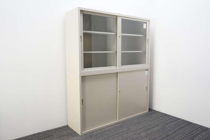 コクヨ スチール引戸+ガラス引戸2段書庫 W1500 D400 H1760 F1色