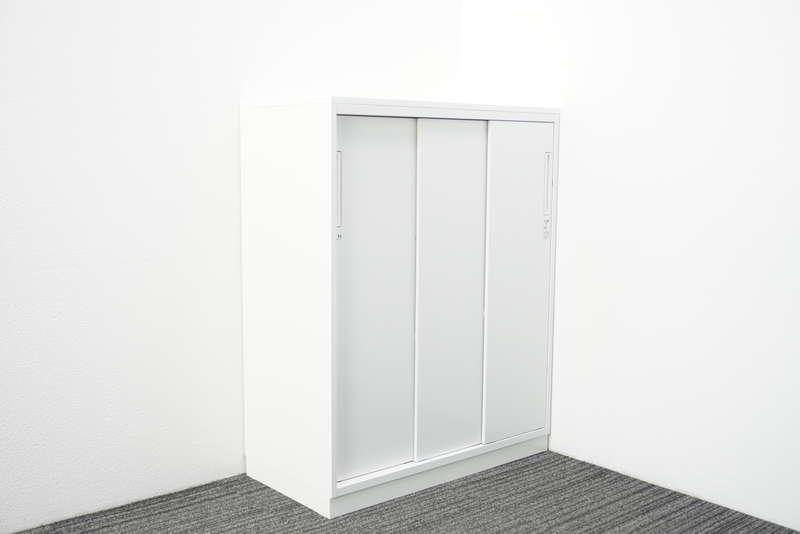 コクヨ エディア 3枚引戸書庫 天板付 H1130 ホワイト