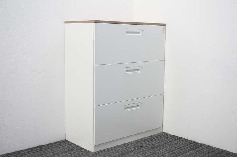 コクヨ エディア 3段ラテラル書庫 個別ロック 天板付(グレインドミディアム) ホワイト H1130