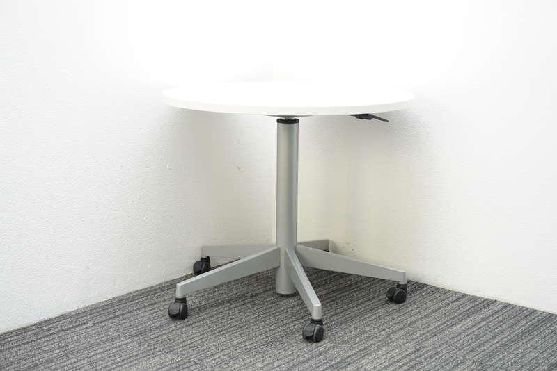 スチールケース タッチダウン 丸テーブル 昇降タイプ Φ800 H680-1010 ホワイト