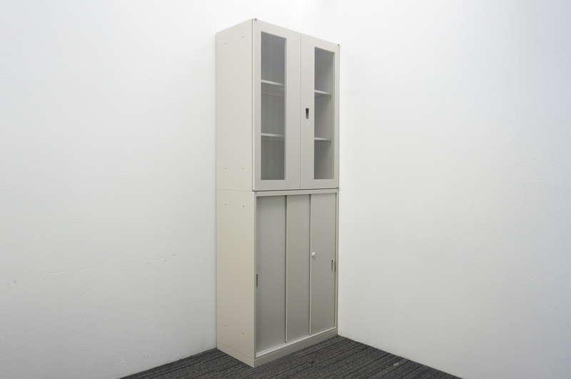 オカムラ 42-A 3枚引戸+ガラス両開き書庫 W800 D400 H2150