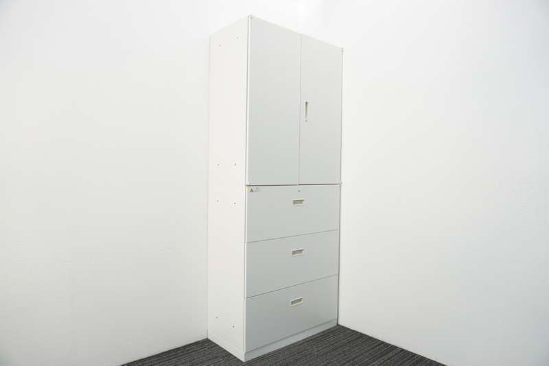 ウチダ BEストレージ 3段ラテラル+両開き書庫 H2160 ホワイト