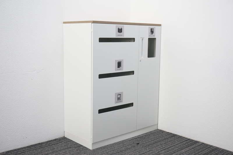 コクヨ エディア 扉付きリサイクルユニット 天板付(アッシュブラウン) ホワイト H1130