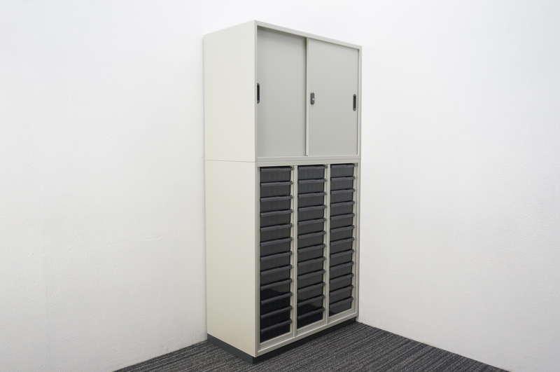 プラス LINX LX-5 書類整理庫(3列12段)+引戸書庫 H1820 エルグレー