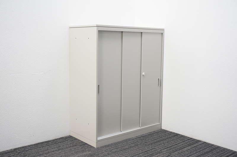オカムラ 42 3枚引戸書庫 天板付 H1120