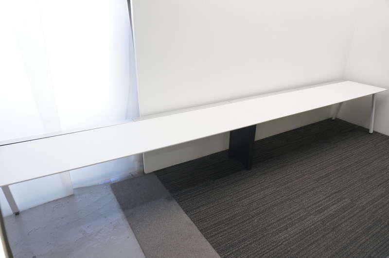 コクヨ サイビ-TX 片面フリーアドレス W4800 D700 H720 W2400天板×2枚 4席分 グレインドホワイト天板