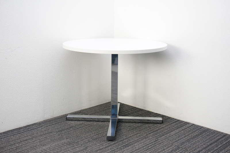 オカムラ ランチテーブル 十字脚タイプ Φ900 H720 ホワイト
