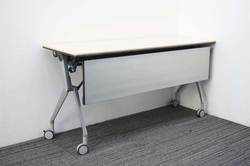 オカムラ インターアクトNT フラップテーブル 1545 幕板付 棚板付 配線ダクト無し ライトプレーン