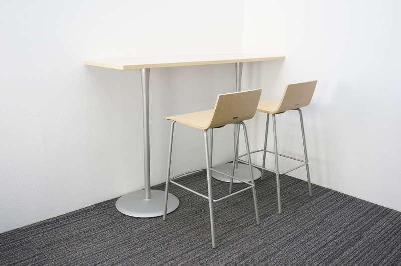 オカムラ アルトカフェ ハイテーブル 1545+ハイチェア 2脚セット