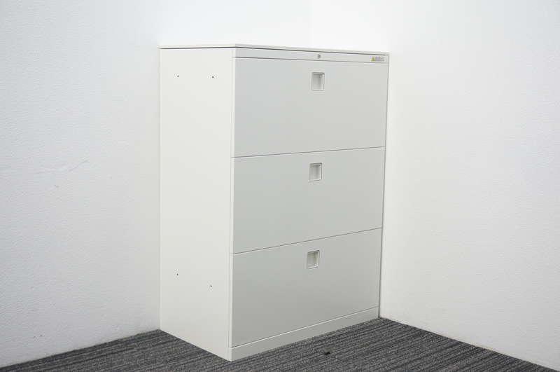 オカムラ レクトライン 3段ラテラル書庫 天板付 W800 D450 H1115 ZA75色