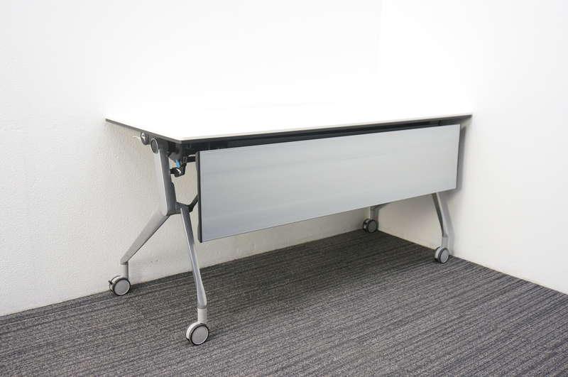 オカムラ インターアクトNT フラップテーブル 1560 幕板付 棚板なし 配線ダクト無し ホワイト