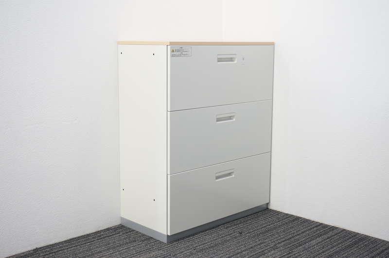 プラス L6 3段ラテラル書庫 天板付(ホワイトメープル) H1120