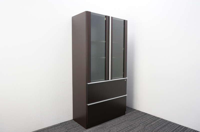 イトーキ X-19 ガラス扉付ラテラルキャビネット W900 D450 H1800 オークダークブラウン