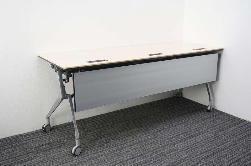 オカムラ インターアクトNT フラップテーブル 1860 幕板付 ライトプレーン