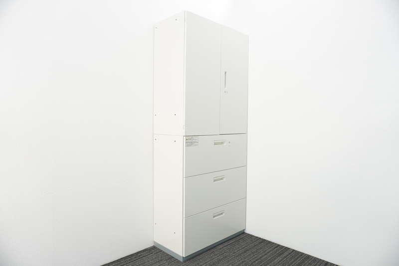 プラス L6 3段ラテラル+両開き書庫 H2150 ホワイト