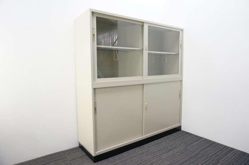 ライオン ガラス引戸+スチール引戸書庫 深型 W1760 D515 H1850