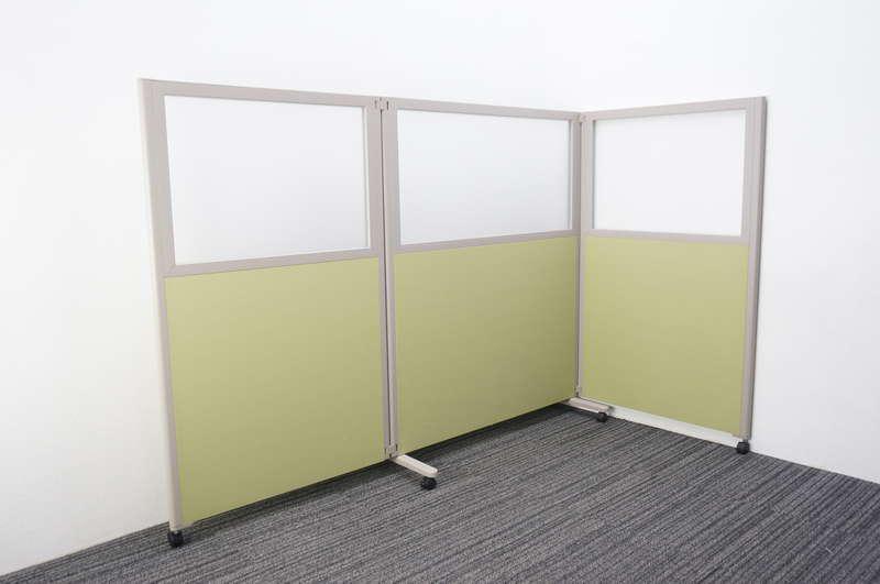 コクヨ パネルスクリーン 3連タイプ アクリル+クロスタイプ ホワイトグリーン W1230+900+1230 D460 H1500