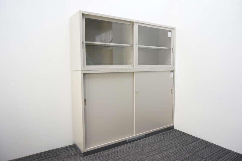 コクヨ ガラス引戸+スチール引戸書庫 W1760 D400 H1850