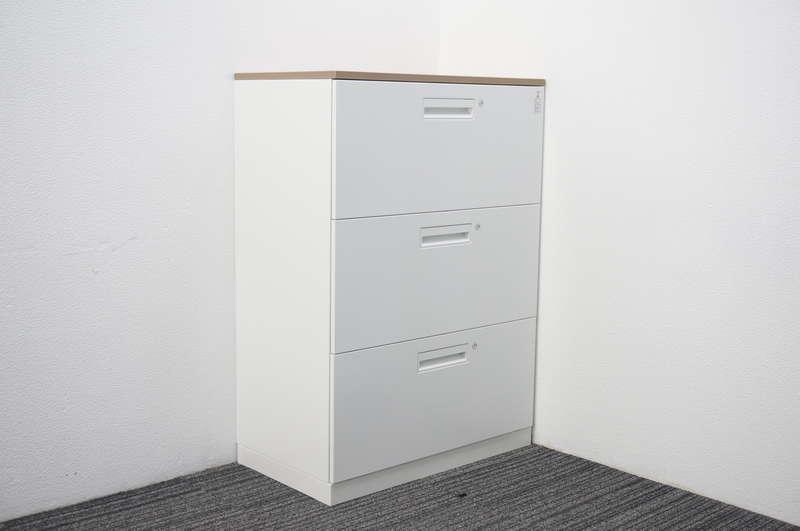 コクヨ エディア 3段ラテラル書庫 個別ロック 天板付(グレインドミディアム) ホワイト W800 D450 H1130