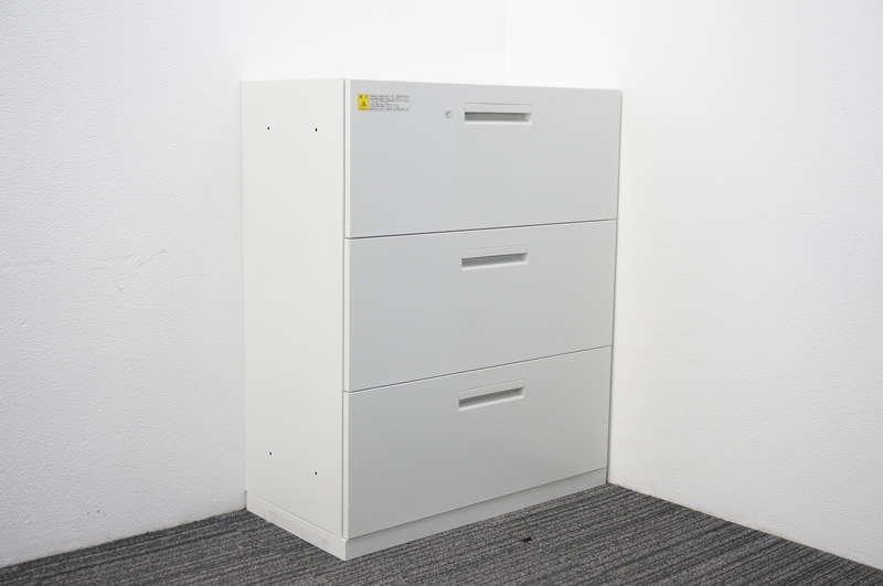 ウチダ ハイパーストレージ 3段ラテラル書庫 H1100 ホワイト