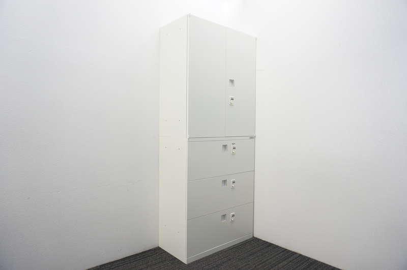 オカムラ レクトライン ダイヤル式3段ラテラル(セパレートロック)+ダイヤル式両開き書庫 H2150 ZA75色