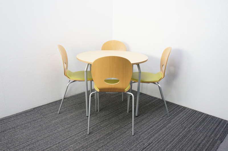 イトーキ オルノ 丸テーブル Φ900 H700 フレッシュメープルL + スタッキングチェア アップルグリーン 4脚セット