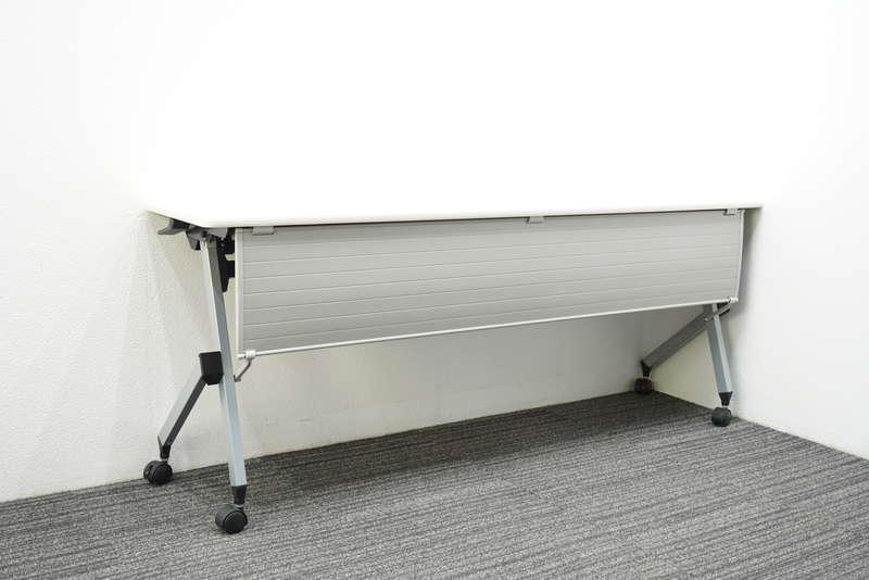 イトーキ HX フラップテーブル 1845 幕板付 棚板付 ホワイト