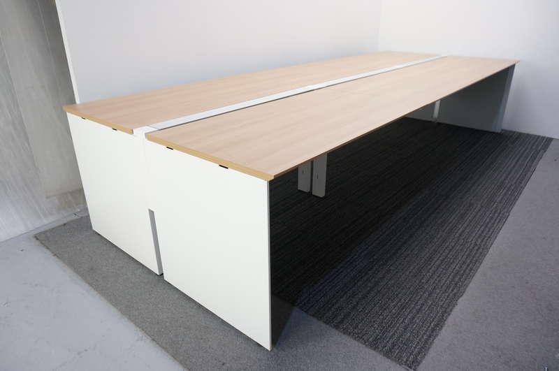 コクヨ ワークヴィスタ フリーアドレス 3614 W2400天板×2枚 W1200天板×2枚 6席分 ホワイト/ラスティックミディアム天板 H720