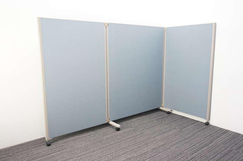 コクヨ パネルスクリーン 3連タイプ 全面クロス ホワイトブルー W900+1230+900 D455 H1500