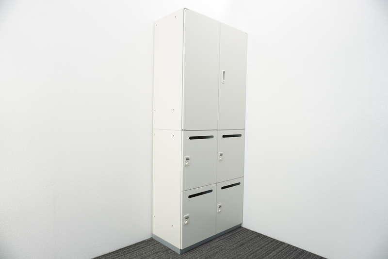 プラス LINX LX-5 ダイヤル式4人用パーソナルロッカー+両開き書庫 H2150 ホワイト