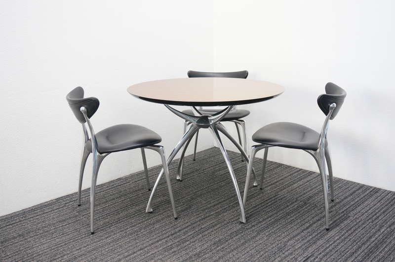リンクテーブル Φ900 + リンクチェア 本革 ブラック 3脚セット