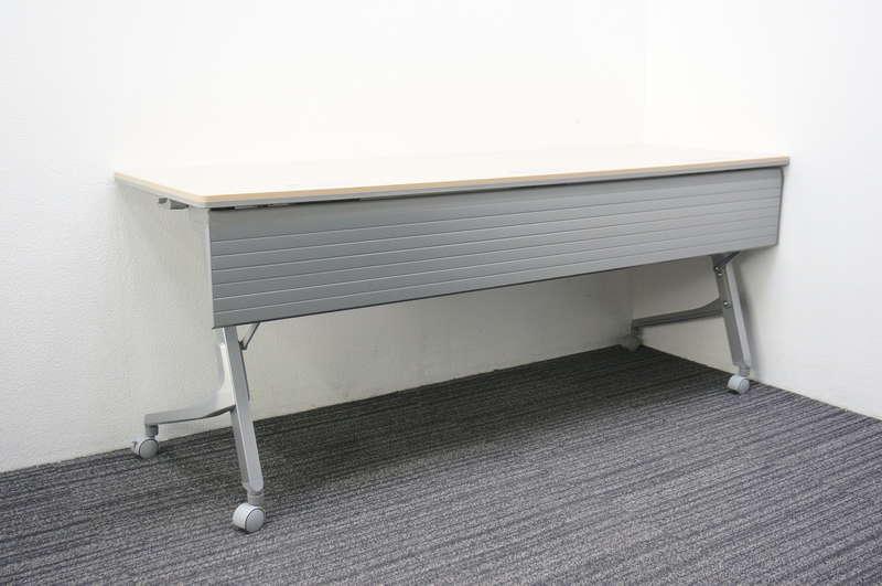 オカムラ カルドー フラップテーブル 1860 ダクト付 幕板付 ネオウッドライト