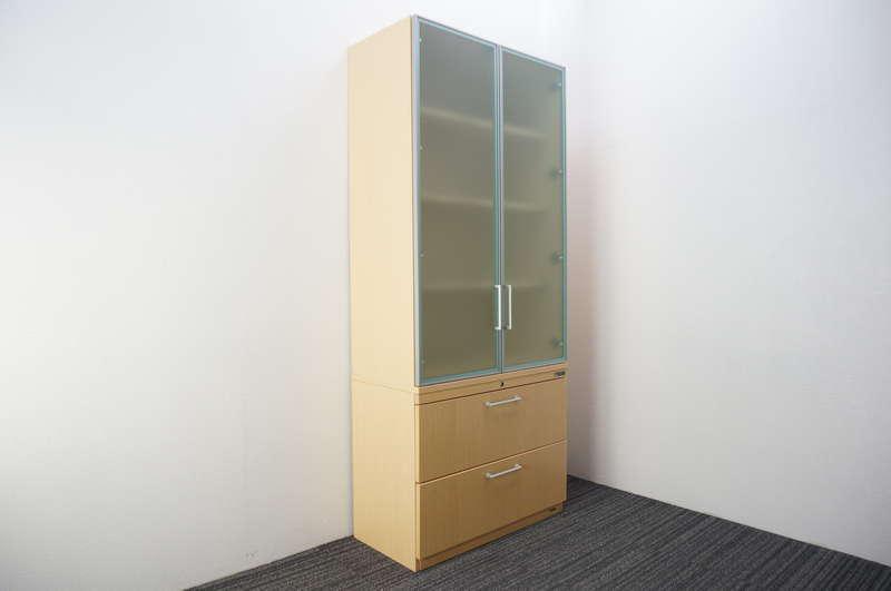 オカムラ EX-100 ガラス書棚(下段ラテラルキャビネット) W900 D453 H2100 オーク調ナチュラル色
