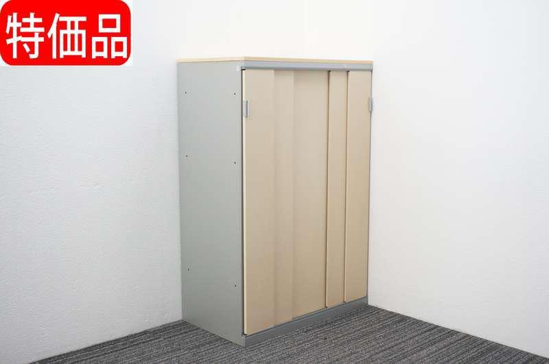 オカムラ SAハイライン 5枚スライド書庫 天板付 木目 W800 D450 H1204 特価品 (1)