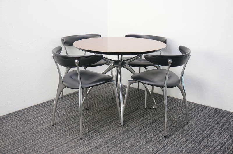 リンクテーブル Φ900 + リンクアームチェア 本革 ブラック 4脚セット